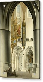 Interior Of The St. Bavo Church In Haarlem Acrylic Print by Pieter Jansz Saenredam