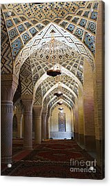 Interior Of The Winter Prayer Hall Of The Nazir Ul Mulk Mosque At Shiraz In Iran Acrylic Print by Robert Preston