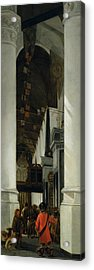 Interior View Of The New Church In Delft Acrylic Print by Emanuel de Witte
