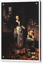 Interior With A Sleeping Maid And Her Mistress Acrylic Print by Nicolaes Maes