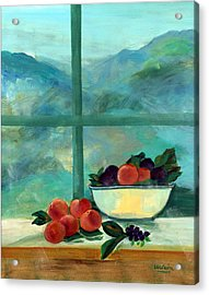 Interior With Window And Fruits Oil & Acrylic On Canvas Acrylic Print by Marisa Leon