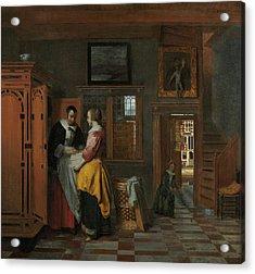 Interior With Women Inside A Linen Cupboard Acrylic Print by Pieter de Hooch