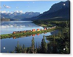 Intermodal Train Curving By Brule Lake Acrylic Print
