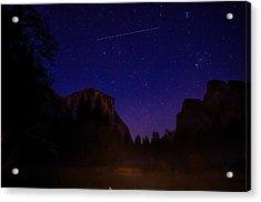 International Space Station Over Yosemite National Park Acrylic Print