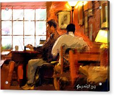 Internet Coffee House Acrylic Print by Ted Azriel