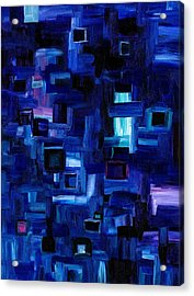 Interplay Blue Acrylic Print by Jennifer Galbraith