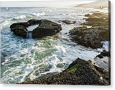 Intertidal Zone Impacted By Wave Action Acrylic Print by Peter Chadwick