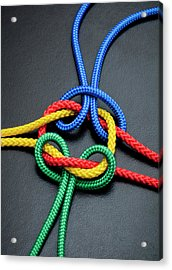 Intertwined Multicolored Ropes Acrylic Print by Jorg Greuel
