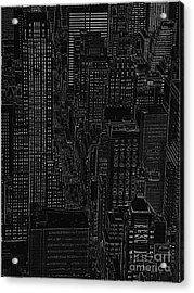 Into Nyc White On Black Acrylic Print by Meandering Photography