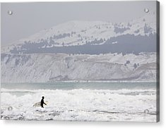 Into The Winter Surf Acrylic Print by Tim Grams