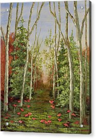 Acrylic Print featuring the painting Into The Woods Series-cedar by Vic  Mastis