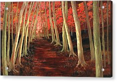 Acrylic Print featuring the painting Into The Woods Series-orange by Vic  Mastis