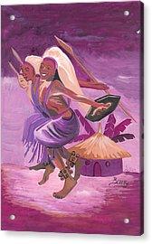 Acrylic Print featuring the painting Intore Dance From Rwanda by Emmanuel Baliyanga