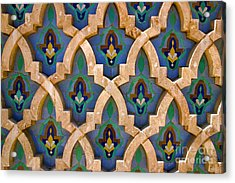 Intricate Zelji At The Hassan II Mosque Sour Jdid Casablanca Morocco Acrylic Print