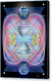 Intwined Hearts Chalice Gold Orb In Bright Synthesis Acrylic Print by Christopher Pringer