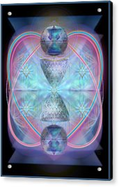 Intwined Hearts Chalice Shimmering Turquoise Vortexes Acrylic Print