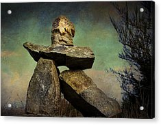 Acrylic Print featuring the photograph Inukshuk I by Peggy Collins
