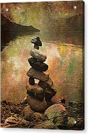 Inukshuk - Northern Lights Night Acrylic Print