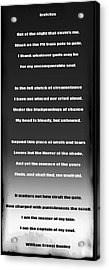 Invictus By William Ernest Henley Acrylic Print