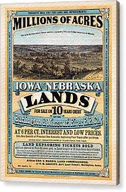 Iowa And Nebraska Lands - 1872 Acrylic Print by Mountain Dreams