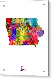 Iowa Map Acrylic Print by Michael Tompsett