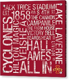Iowa State College Colors Subway Art Acrylic Print by Replay Photos