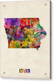 Iowa Watercolor Map Acrylic Print