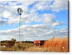Iowa Windmill Acrylic Print by Diane Lent