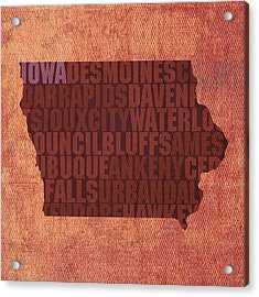 Iowa Word Art State Map On Canvas Acrylic Print by Design Turnpike