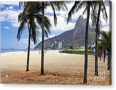 Ipanema Beach Palm Trees Acrylic Print by George Oze