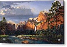iPhone - Galaxy Case - Deer Meadow Mountains Western stream Deer waterfall Landscape Oil Painting Acrylic Print by Walt Curlee