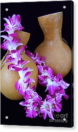 Ipu And Orchid Lei Acrylic Print by Mary Deal