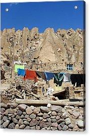 Iran Kandovan Stone Village Laundry Acrylic Print by Lois Ivancin Tavaf