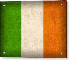 Ireland Flag Vintage Distressed Finish Acrylic Print by Design Turnpike