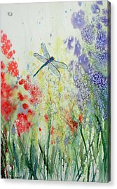 Iridescent Dragonfly Dances Among The Blooms Acrylic Print