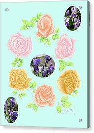 Iris Among Roses Acrylic Print by Dusty Reed