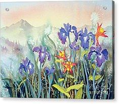 Acrylic Print featuring the painting Iris And Columbine II by Teresa Ascone