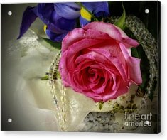 Iris And Rose On Vintage Treasure Box Acrylic Print by Inspired Nature Photography Fine Art Photography