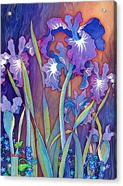 Acrylic Print featuring the mixed media Iris Bouquet by Teresa Ascone