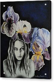 Acrylic Print featuring the drawing Iris by Carla Carson