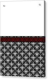 Iris Damask In Red Black And White Acrylic Print by Jenny Armitage