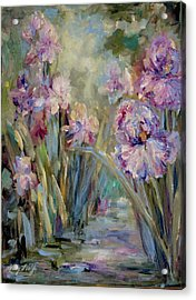 Acrylic Print featuring the painting Iris Garden by Mary Wolf