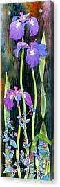 Acrylic Print featuring the painting Iris Tall And Slim by Teresa Ascone