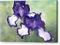 Irises Duet In Purple Flowers Colorful Original Painting Garden Iris Flowers Floral K. Joann Russell Acrylic Print