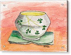 Irish Belleek And Linen Acrylic Print by Julie Maas
