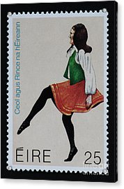 Irish Music And Dance Postage Stamp Print Acrylic Print by Andy Prendy