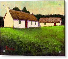 Irish Thatched Roof Cottages Acrylic Print by Bernie Rosage Jr