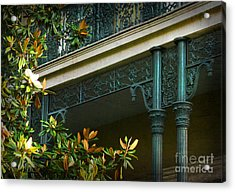 Iron Detail With Magnolia Tree Acrylic Print