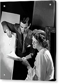 Irving Berlin Looking At Papers With His Wife Acrylic Print