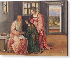 Isaac Blessing Jacob Acrylic Print by Girolamo da Treviso II